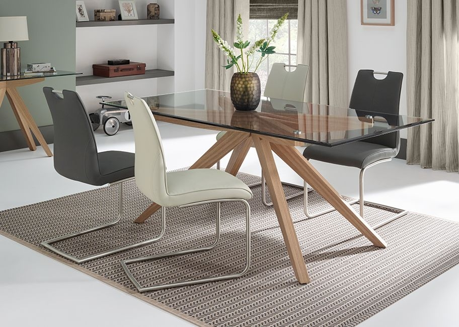 Serene Vigo Glass Dining Table and 4 Malaga Chairs - Oak and Multi Color Fabric
