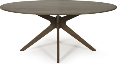 Serene Waltham Walnut Dining Table - 180cm Oval Fixed Top