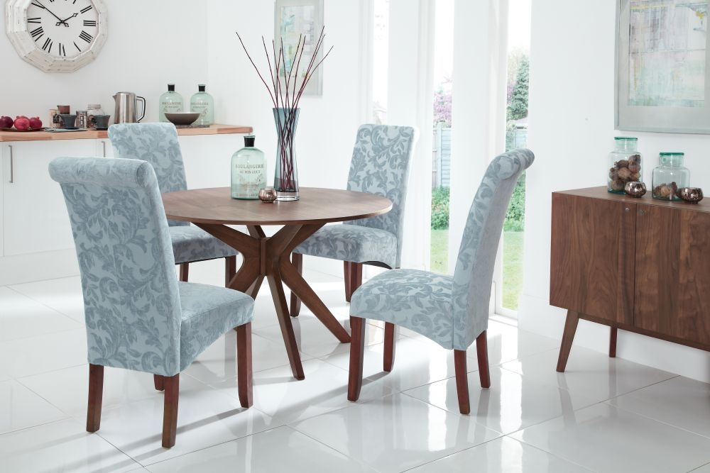 Serene Waltham Walnut Dining Set - 120cm Round Fixed Top with 4 Kingston Duck Egg Floral Fabric Chairs
