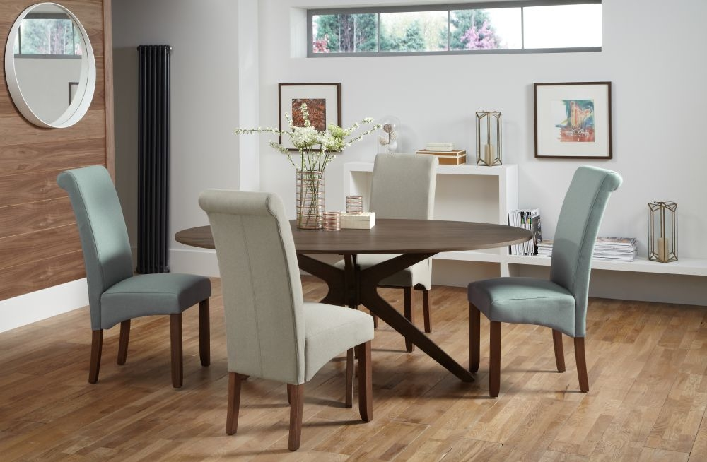 Serene Waltham Walnut Oval Fixed Top Dining Set with 2 Kingston Duck Egg and 2 Latte Plain Fabric Chairs - 180cm
