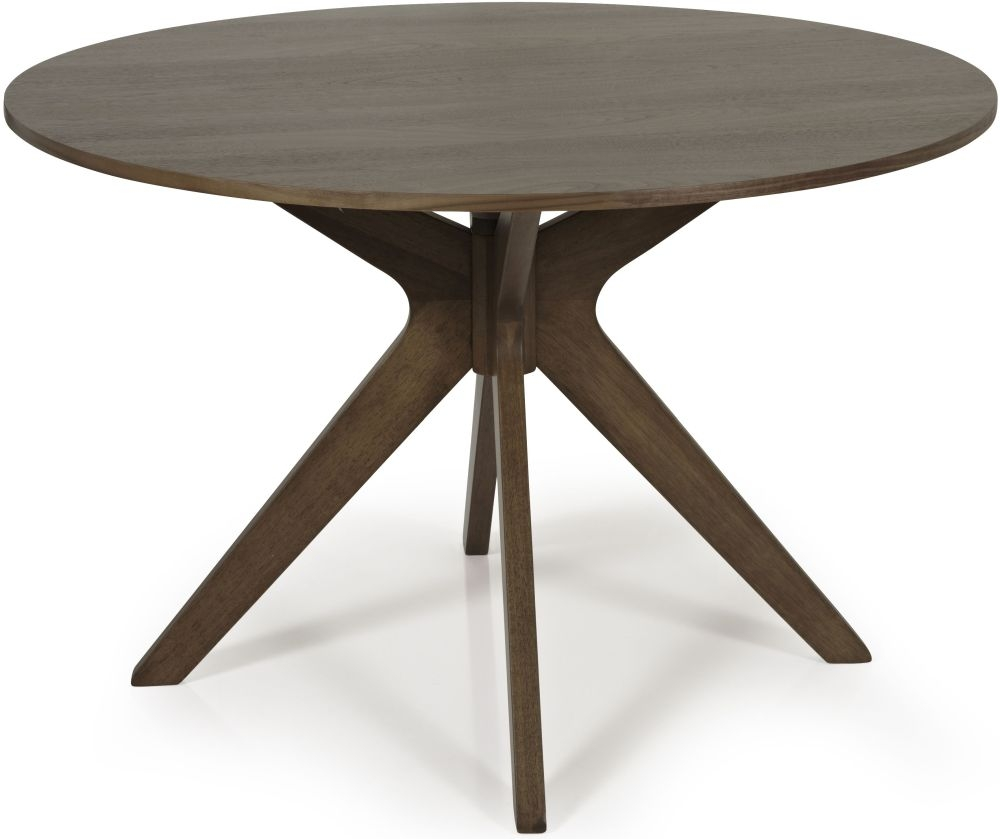 Serene Waltham Walnut Round Fixed Top Dining Table - 120cm