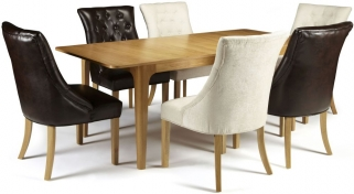 Serene Wandsworth Oak Dining Set - Extending with 3 Hampton Brown Leather and 3 Pearl Fabric Chairs