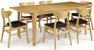 Serene Wandsworth Oak Dining Set - Extending with 6 Camden Oak Chairs