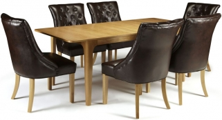 Serene Wandsworth Oak Dining Set - Extending with 6 Hampton Brown Leather Chairs
