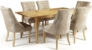 Serene Wandsworth Oak Dining Set - Extending with 6 Hampton Mink Fabric Chairs