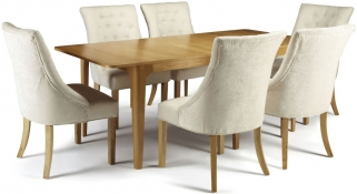 Serene Wandsworth Oak Dining Set - Extending with 6 Hampton Pearl Fabric Chairs