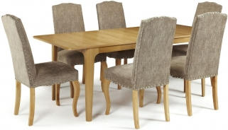 Serene Wandsworth Oak Dining Set - Extending with 6 Kensington Bark Chairs