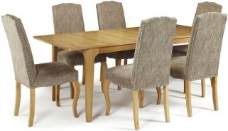 Serene Wandsworth Oak Dining Set - Extending with 6 Kensington Bark Chairs