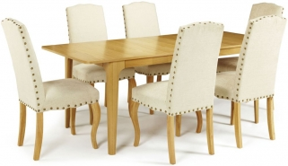 Serene Wandsworth Oak Dining Set - Extending with 6 Kensington Pearl Chairs