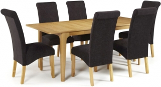 Serene Wandsworth Oak Dining Set - Extending with 6 Kingston Aubergine Plain Chairs