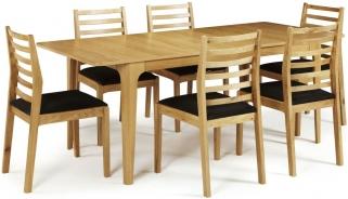 Serene Wandsworth Oak Dining Set - Extending with 6 Lewisham Chairs
