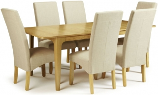 Serene Wandsworth Oak Dining Set - Extending with 6 Merton Stone Chairs