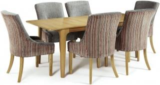 Serene Wandsworth Oak Dining Set - Extending with 6 Richmond Orange Steel Chairs