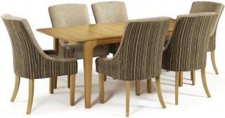 Serene Wandsworth Oak Dining Set - Extending with 6 Richmond Sand Mink Chairs