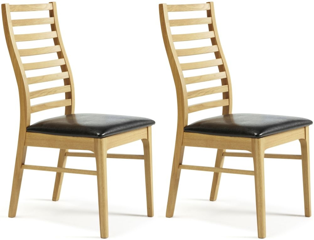 Serene Wandsworth Oak Dining Chair with Faux Leather Seat (Pair)