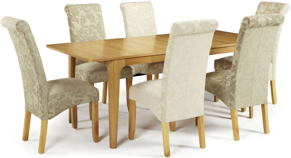 Serene Wandsworth Oak Dining Set - Extending with 2 Kingston Cream Floral and 4 Sage Floral Chairs