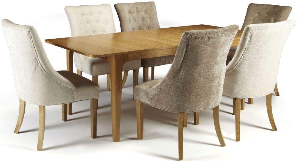 Serene Wandsworth Oak Dining Set - Extending with 3 Hampton Mink and 3 Pearl Fabric Chairs