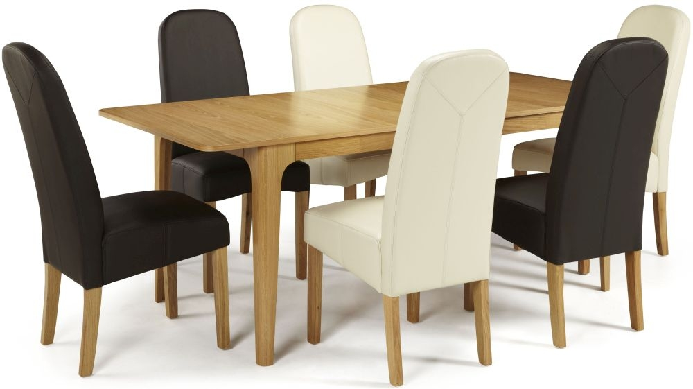 Serene Wandsworth Oak Dining Set - Extending with 3 Marlow Cream and 3 Brown Faux Leather Chairs