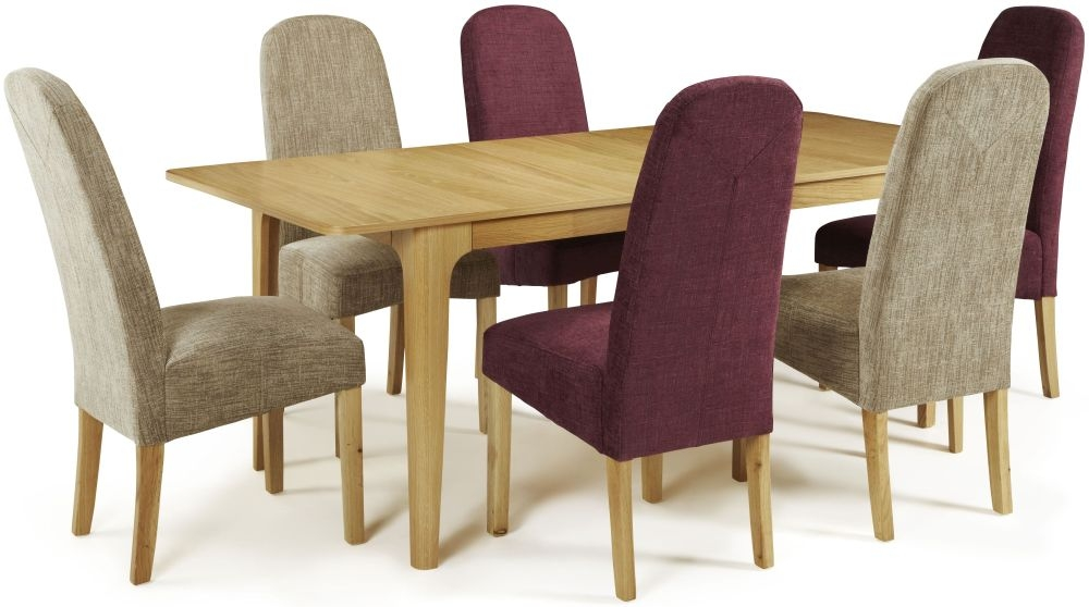 Serene Wandsworth Oak Dining Set - Extending with 3 Marlow Shiraz and 3 Bark Chairs