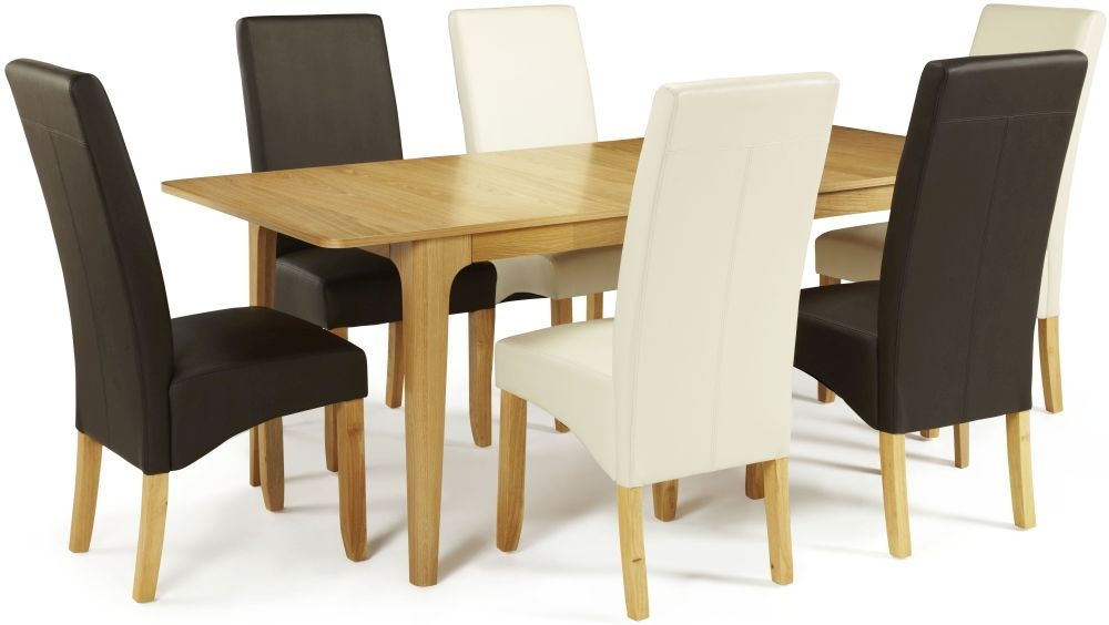 Serene Wandsworth Oak Dining Set - Extending with 3 Merton Brown and 3 Cream Faux Leather Chairs