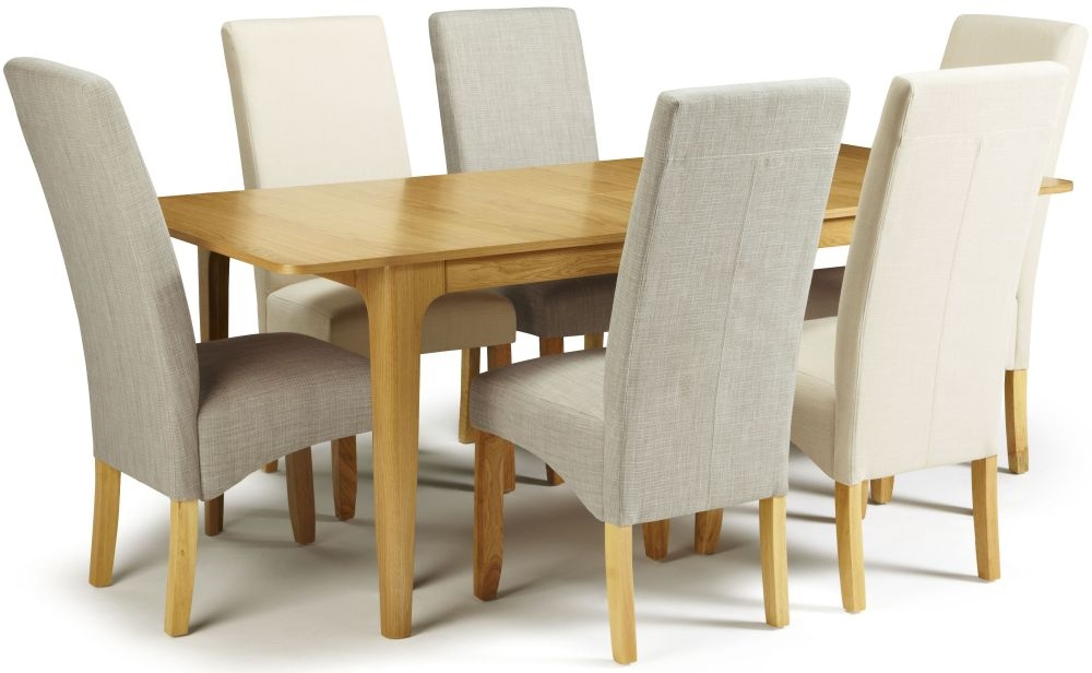 Serene Wandsworth Oak Dining Set - Extending with 3 Merton Linen and 3 Putty Chairs