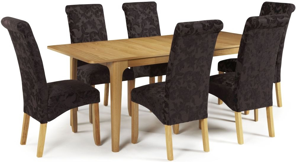 Serene Wandsworth Oak Dining Set - Extending with 6 Kingston Aubergine Floral Chairs