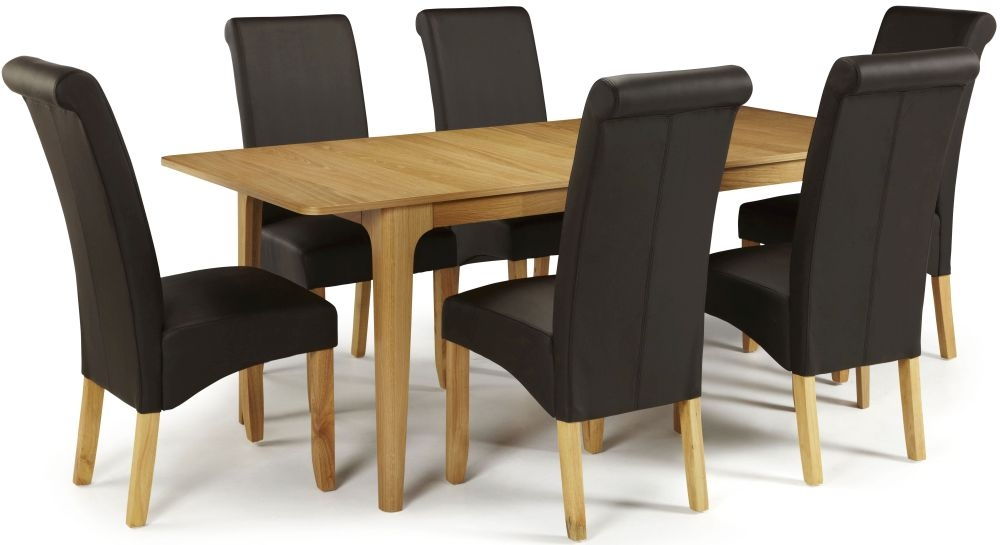 Serene Wandsworth Oak Dining Set - Extending with 6 Kingston Brown Faux Leather Chairs