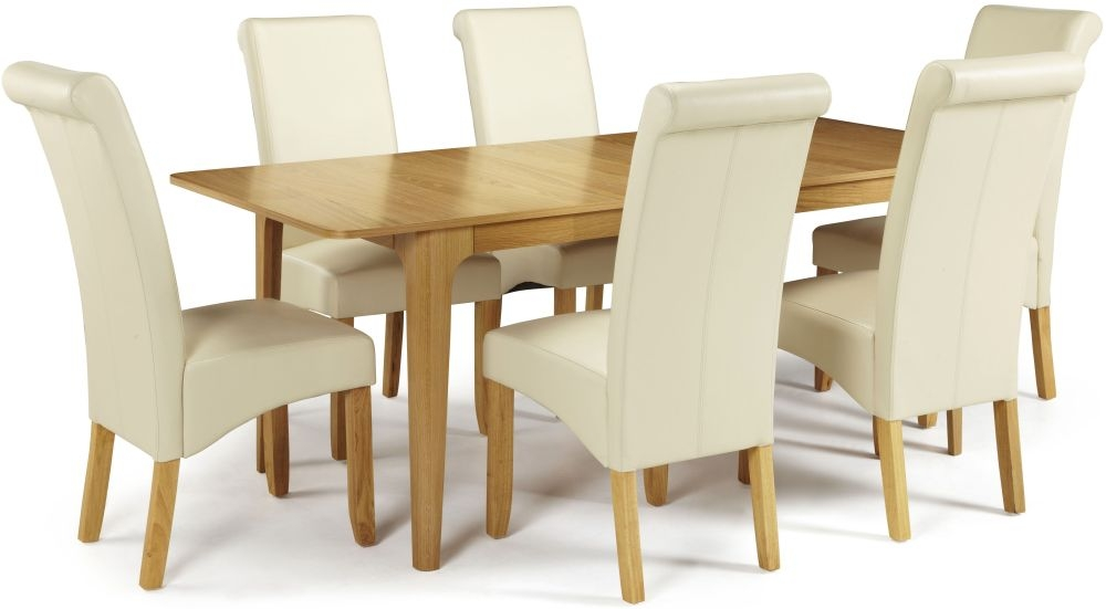 oak dining set extending with 6 kingston cream faux leather chairs