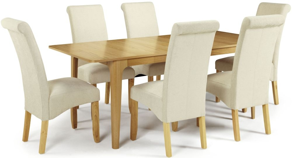 Serene Wandsworth Oak Dining Set - Extending with 6 Kingston Cream Plain Chairs