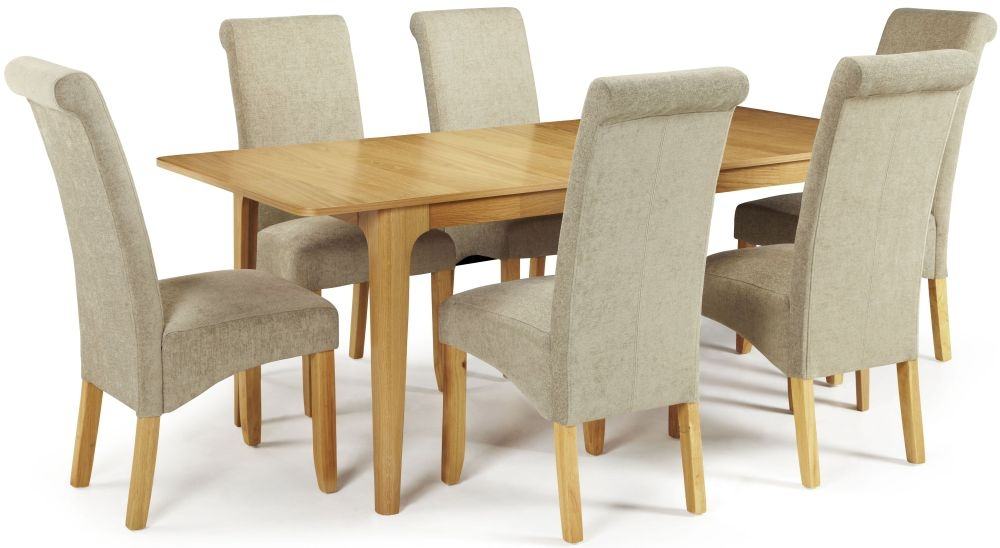 Serene Wandsworth Oak Dining Set - Extending with 6 Kingston Sage Plain Chairs