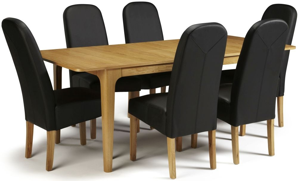Serene Wandsworth Oak Dining Set Extending With 6 Marlow Black Faux Leather