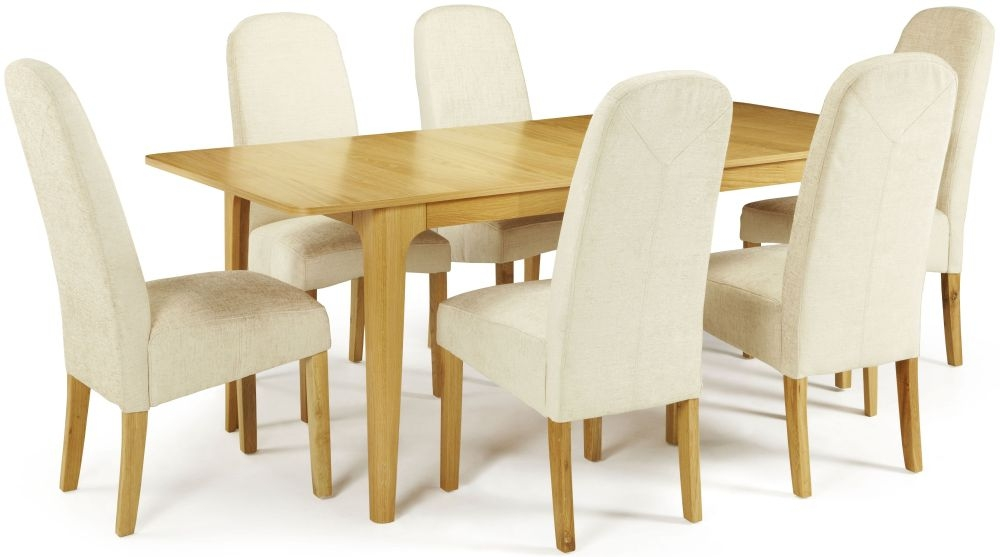 Serene Wandsworth Oak Dining Set - Extending with 6 Marlow Pearl Chairs