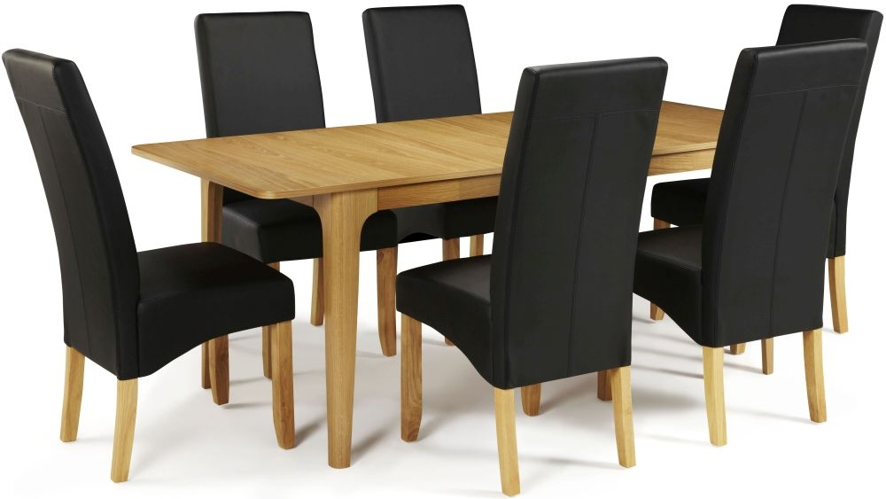 Serene Wandsworth Oak Dining Set - Extending with 6 Merton Black Faux Leather Chairs