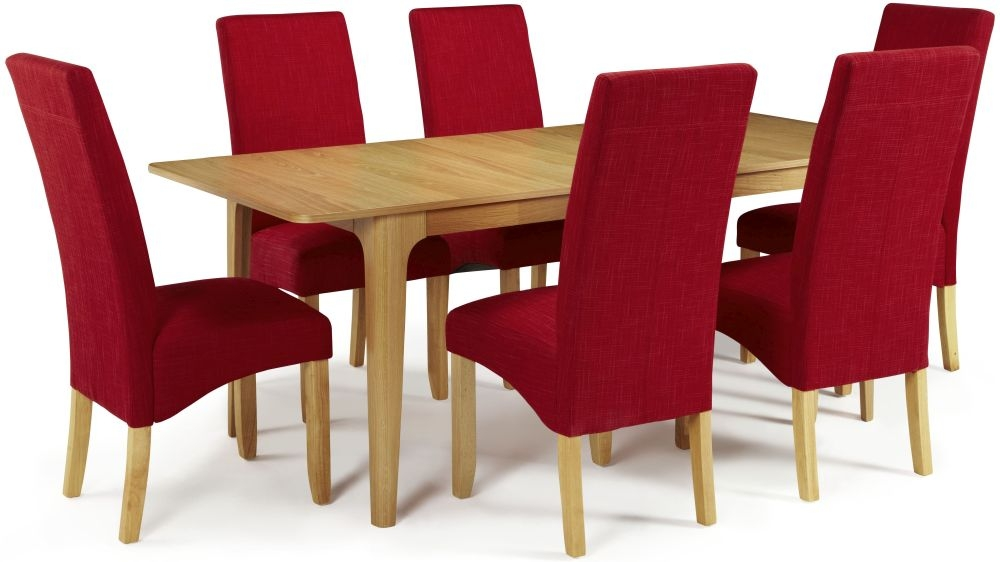 Serene Wandsworth Oak Dining Set - Extending with 6 Merton Scarlet Chairs