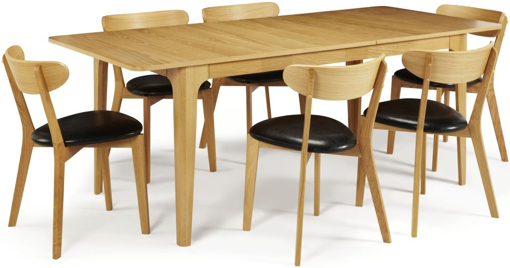 Serene Wandsworth Oak Dining Set - Extending with 6 Newham Chairs