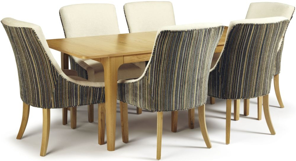 Serene Wandsworth Oak Dining Set - Extending with 6 Richmond Aubergine Pearl Chairs