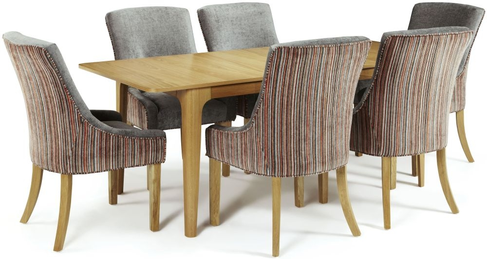 Serene Wandsworth Oak Dining Set - Extending with 6 Richmond Orange Steel Chairs