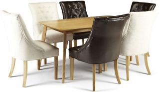 Serene Westminister Oak Dining Set - 150cm with 3 Hampton Brown Leather and 3 Pearl Fabric Chairs