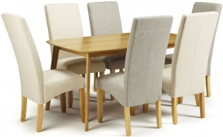 Serene Westminister Oak Dining Set - 150cm with 3 Merton Linen and 3 Putty Chairs