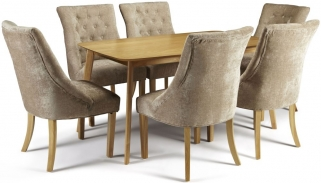 Serene Westminister Oak Dining Set - 150cm with 6 Hampton Mink Fabric Chairs