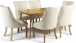 Serene Westminister Oak Dining Set - 150cm with 6 Hampton Pearl Fabric Chairs