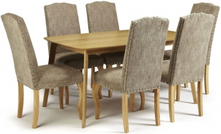Serene Westminister Oak Dining Set - 150cm with 6 Kensington Bark Chairs