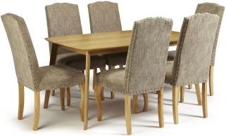 Serene Westminister Oak Dining Set - 150cm with 6 Kensington Bark Chairs