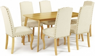 Serene Westminister Oak Dining Set - 150cm with 6 Kensington Pearl Chairs