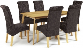 Serene Westminister Oak Dining Set - 150cm with 6 Kingston Aubergine Floral Chairs