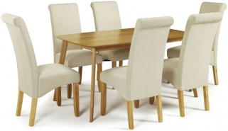 Serene Westminister Oak Dining Set - 150cm with 6 Kingston Cream Plain Chairs