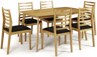 Serene Westminister Oak Dining Set - 150cm with 6 Lewisham Chairs