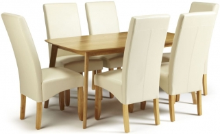 Serene Westminister Oak Dining Set - 150cm with 6 Merton Cream Faux Leather Chairs