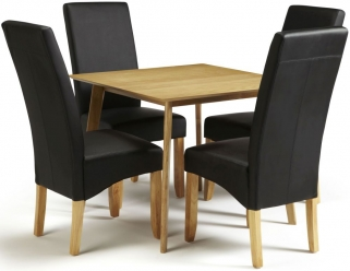 Serene Westminister Oak Dining Set - 90cm with 4 Merton Black Faux Leather Chairs