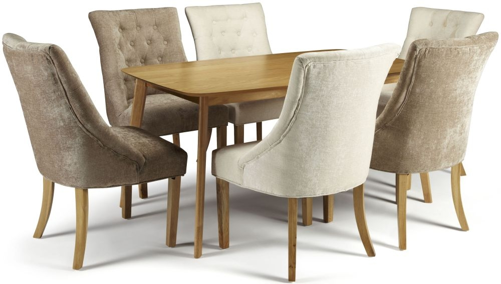 Serene Westminister Oak Dining Set - 150cm with 3 Hampton Mink and 3 Pearl Fabric Chairs